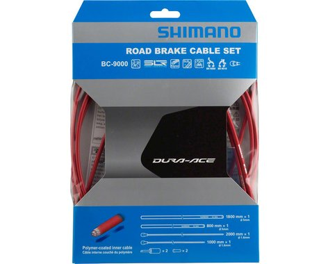 Shimano Dura-Ace BC-9000 Polymer-Coated Road Brake Cable Set (Red)